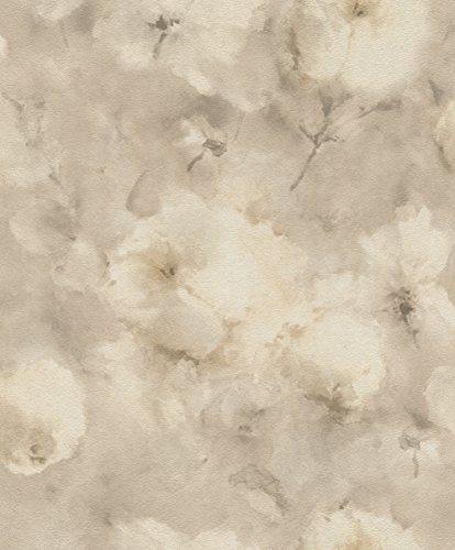 rasch Tapete 467352 aus der Kollektion Vincenza – Vliestapete mit floralem Aquarell in Creme auf beigem Hintergrund – 10,05m x 53cm (L x B)