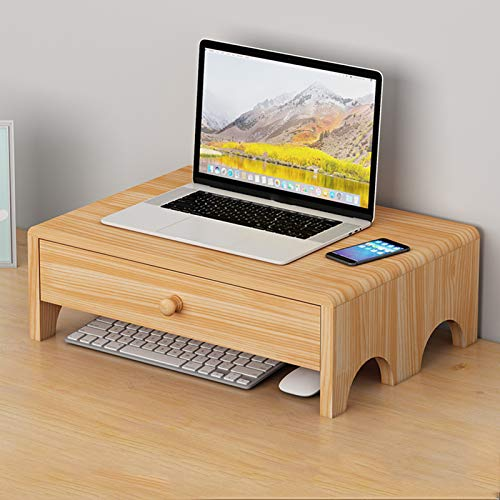 Monitor Stand with 1 Storage Drawers,Wood Monitor Stand Riser,Desktop Ergonomic Desk Shelf Organizer Storage,for Office Desk Accessories-B 40x28x13cm(16x11x5inch)