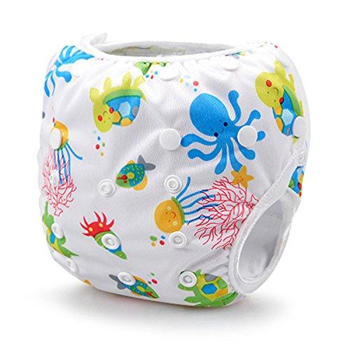 Storeofbaby Baby-Schwimmwindeln, wiederverwendbar, Schwimmwindelhöschen für Neugeborene und Kleinkinder, 0-36Monate weiß / blau einheitsgröße