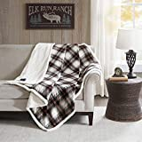 Woolrich Plaid Electric Blanket Throw Plush Reverse Sherpa Oversize with 3 Heat Level Setting Controller, 60x70, Ridley Black
