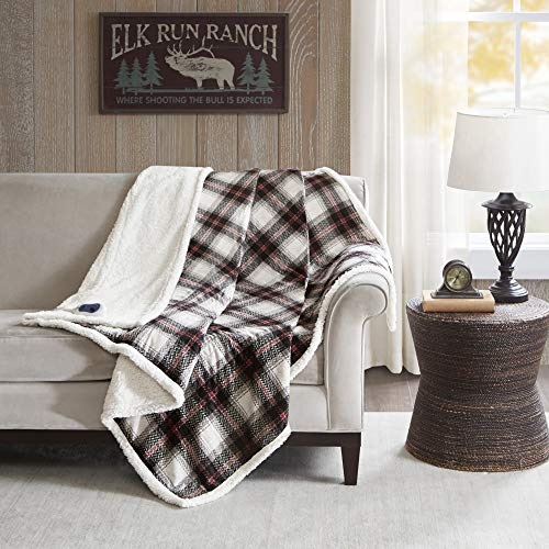 Woolrich Ridley Oversized Plaid Print Faux Mink to Berber Heated Throw Black 60x70
