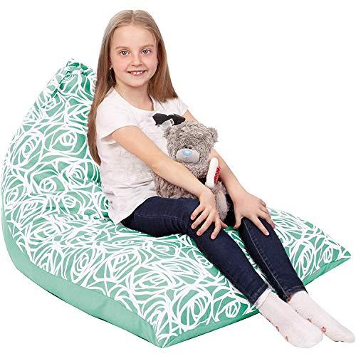 Sitzsack mit Stofftier-Aufbewahrung, nur Bezug – großer Dreiecks-Sitzsack für Kinder – 150 + Plüschtier-Halter – Bodenkissen-Organizer für Mädchen – 100 % Baumwoll-Segeltuch – Minzrosen.