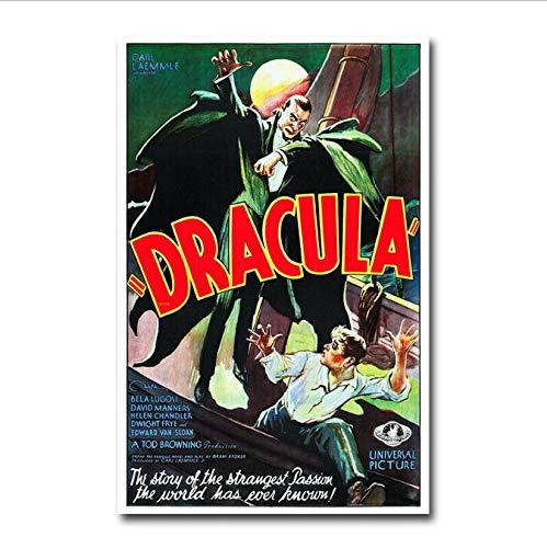 Cartel Drácula Vampiro Antiguo Película de Terror Arte de la Lona Pintura de la Lona Decoración para El Hogar 40X60 CM Sin Marco