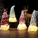 ASSR 4 luces LED de gnomo de Navidad, colgante de felpa de muñeca enana luminosa, luces enanas de Navidad hechas a mano, adornos colgantes de árbol de Navidad