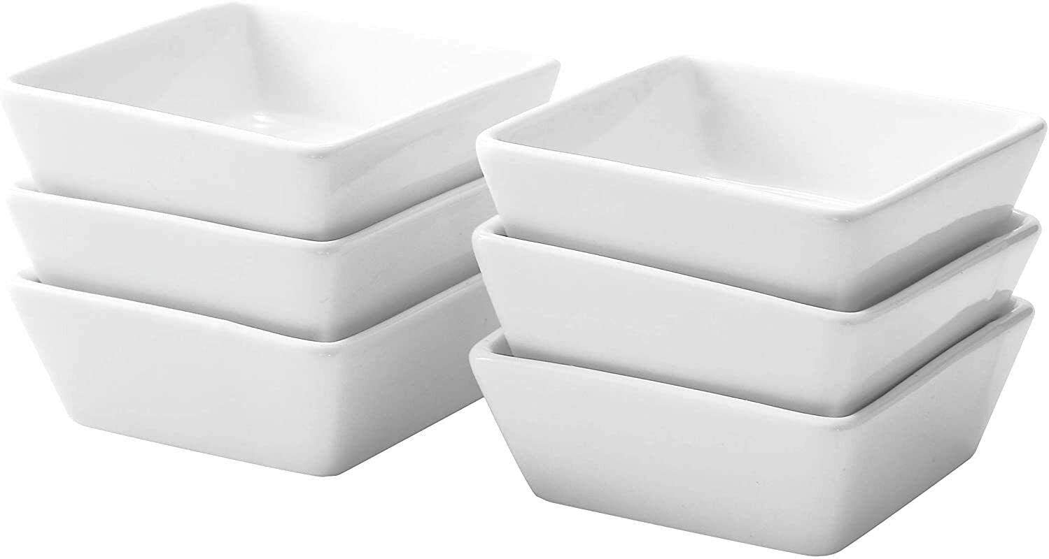 NEW before selling Nashville-Davidson Mall ☆ 6 PCS Ceramic Square Backing Sauce Dipping White-kitc 4 Bowls OZ
