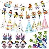 EBANKU Gorros de Fiesta Cumpleaños, 25 piezas kit de 8 sombreros de cono de fiesta y cumpleaños, 1 pancarta de alfabeto, 12 sopladores de fiesta y 4 gafas de cumpleaños, decoraciones para fiesta niños