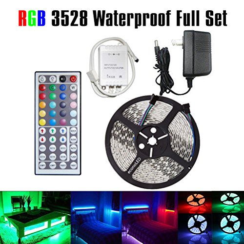 econoLED LED Flexible Strip Lights,Strip Lights, 32.8ft 600leds 5m Waterproof Adhesive Light Strips RGB Color Changing SMD 3528 Ribbon Kit with 44key Remote with Power Supply