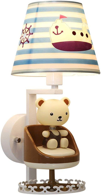 Xiao Fan   Cartoon Br Rotierende Musiktuchkunst Schmiedeeisen Wandleuchte Moderne Einfachheit Kinderzimmer Jungen und Mdchen Nachttischlampe Leuchte (E14)