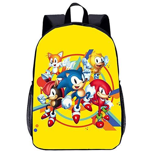 Sonic the Hedgehog Mochila con impresión 3D, ergonómica, adecuada para la escuela primaria, guardería (Sonic 18, clases 1-6)