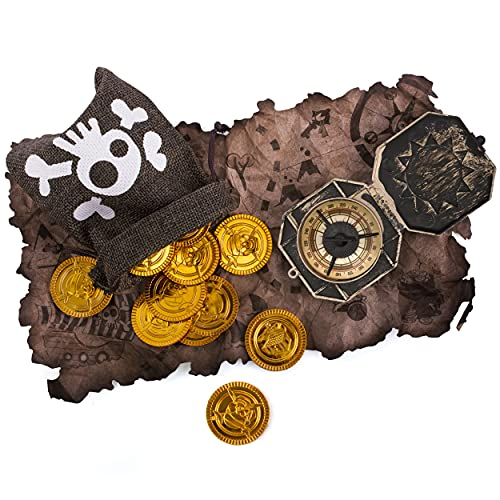 Brújula Pirata Bolsa de Tesoro Mapa del Tesoro Monedas de Oro Bolsa de capitán Calavera Niños para Fiesta de Disfraces de Pirata