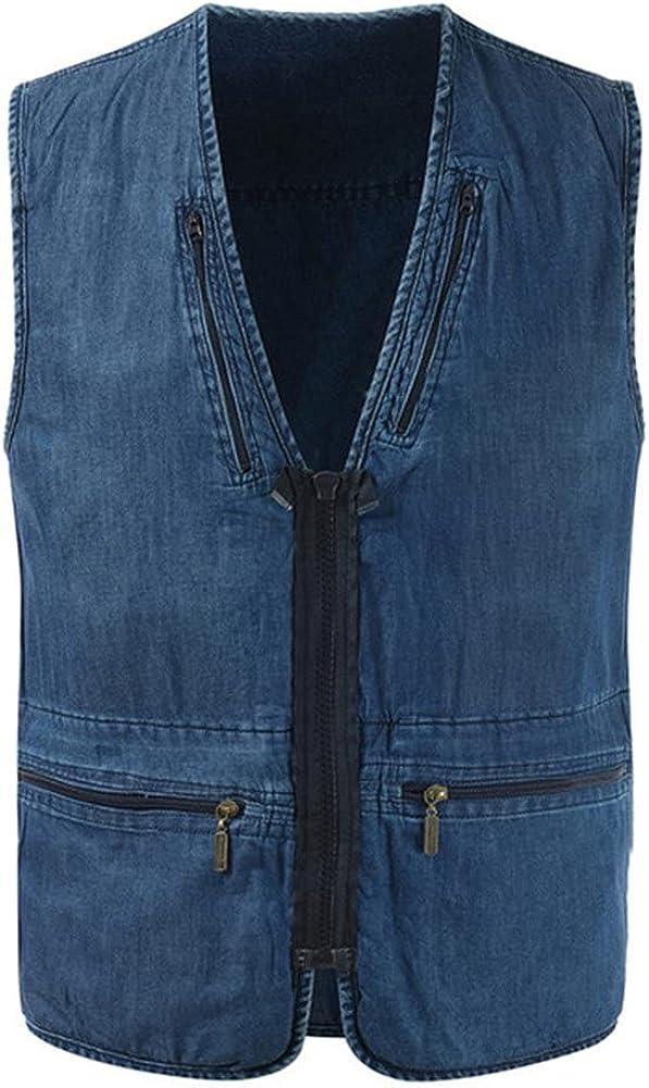 Men's denim vest sleeveless men's autumn casual vest outdoor sports vest men