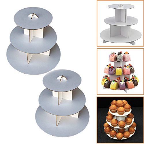 "2 Sets 3-Tier White Round (12""W x 10""H) Cardboard Cupcake Stand Dessert Tower Treat Stacker Pastry Serving Platter Food Display"