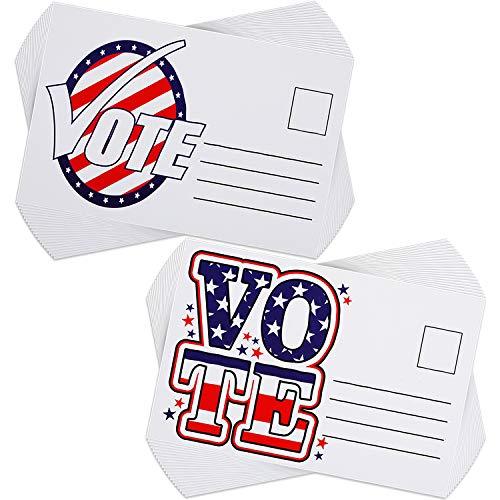 100 Pieces Vote Postcards Patriotic Blank Postcards Voter Patriotic Blank Cards with Mailing Side for Voting Election Campaign