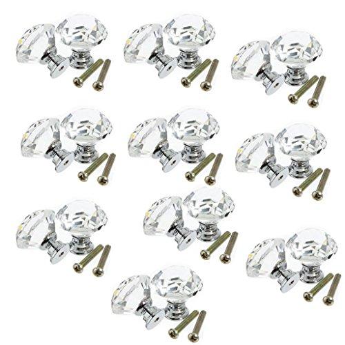 Clarmonde – Lot de 20 boutons de porte / poignées de meuble en verre transparent avec vis, 30 mm