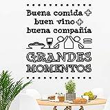 Docliick Frase Vinilo para cocina o restaurante'BUENA COMIDA + BUEN VINO.' Vinilos decorativos Docliick DC-19102 (Vinilo de corte, 60x42cm)