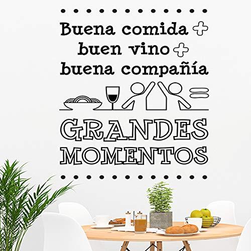 "Docliick® Frase Vinilo para cocina o restaurante""BUENA COMIDA + BUEN VINO."" Vinilos decorativos Docliick DC-19102 (Vinilo de corte, 60x42cm)"
