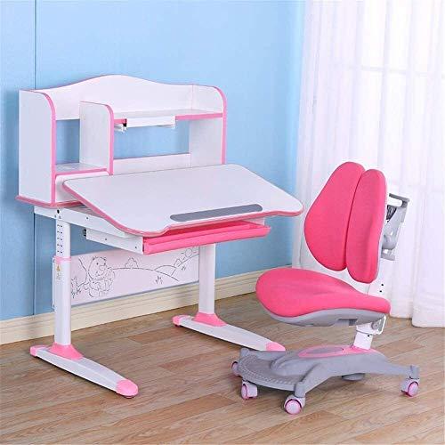 Kinderschreibtisch-Sets Kinder Tisch & Stuhl Set, Multifunktions Childen Kinder Studie Tabelle Höhenverstellbarer Stabiler Tischlernender, Schulpulte Mäppchen Bücherkinder (Color : Pink)
