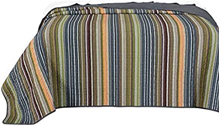 Chezmoi Collection Avery 1-Piece Multi-Color Striped 100% Washed Cotton Throw