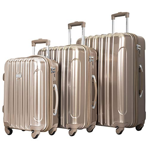 kensie Women's TSA-Lock Hardside Spinner Luggage, Pale Gold, 3-Piece Set (28, 24, 20)