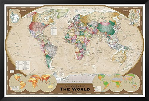World Map Framed Poster 38 x 26in