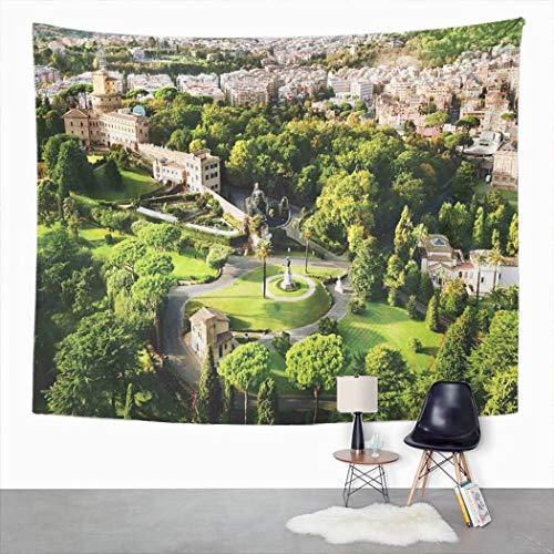 Y·JIANG Tapiz para colgar en la pared, diseño de jardines del Vaticano italiano, blanco, verde, marrón, para dormitorio o dormitorio, 203 x 152 cm