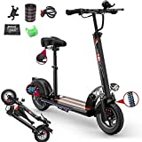Electric Kick Scooter, Lightweight Foldable Scooter with Seat, Three speed modes (up to 28mph) up to 31 Miles Range, Scooter Portable Commuter Scooter for Adults(500W Motor)330Lbs max load,Black