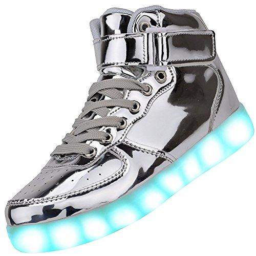 Padgene Unisex Zapatillas LED para Hombre Mujere con Luces (7 Colores) USB Carga Zapatos de Deporte