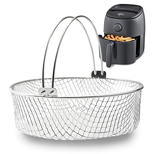 Air Fryer Basket, Steamer Basket, 304 Stainless Steel Mesh Basket for Air Fryer, Air Fryer Accessory 8 inch Basket with Handle