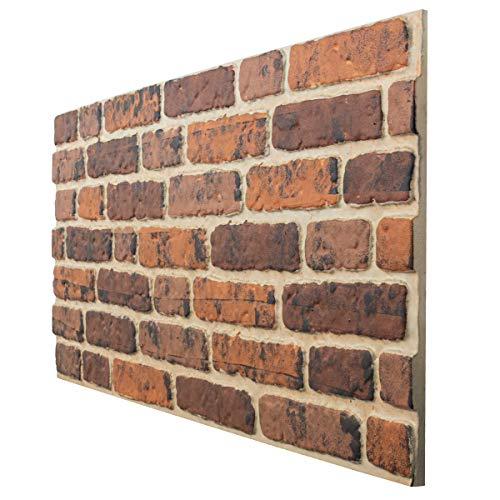 4 Pack EPS Polystyrene Panels 120x50cm 3D Wall Cladding Decopano Red Brick | 2,4sqm/Box