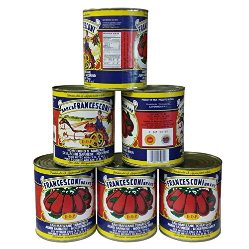 San Marzano DOP Authentic Whole Peeled Plum Tomatoes - 28 oz cans (Pack of 6) …