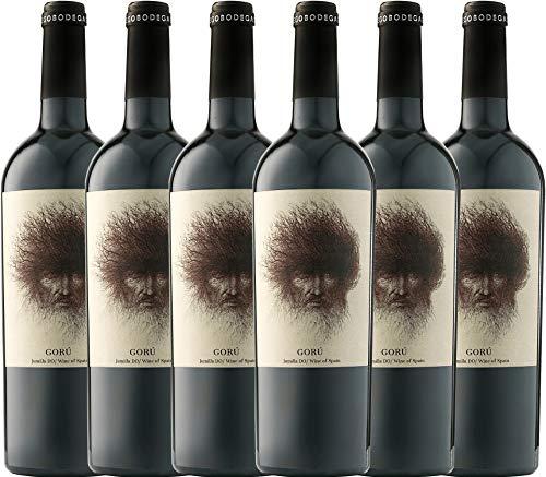VINELLO 6er Weinpaket Rotwein - Goru Jumilla DO 2019 - Ego Bodegas mit Weinausgießer   trockener Rotwein   spanischer Rotwein aus Murcia   6 x 0,75 Liter