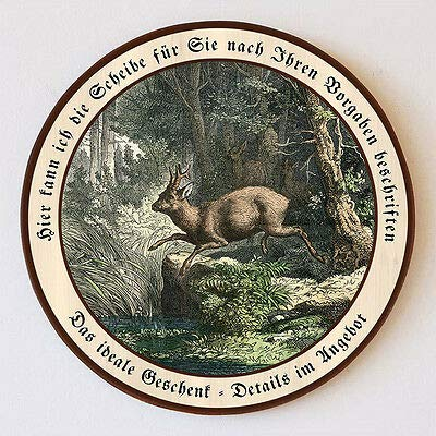 Rehbock springt in Fluss Jagd Blatt Rehkuh Schützenscheibe 41cm Wunschtext 131