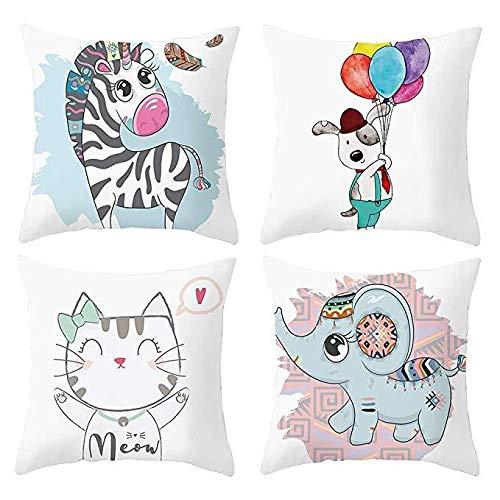 Hugyou - Juego de 4 fundas de almohada con diseño de gatos, diseño de perro