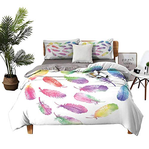 DRAGON VINES Silk Sheets Feather Bed Sheets Full Set Fluffy Dreamy Artistic Pattern with Watercolor Elements Plumage Romantic Design W68 xL85 Multicolor