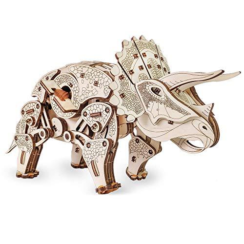 EWA Eco-Wood-Art Triceratops de Dinosaurio mecánico 3D de Madera-Rompecabezas para Adultos y Adolescentes-Montaje sin pegamento-283 Piezas, Color Naturaleza