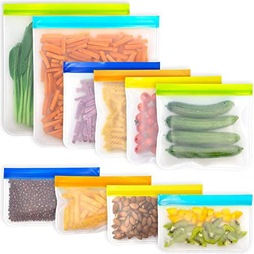 Reusable Food Storage Bags Silicone Storage Freezer Food Bags PEVA Sandwich Snack Lunch Bag for Marinate Meat Fruit Cereal (10 Pack-2 Gallon 4 Sandwich 4 Snack)