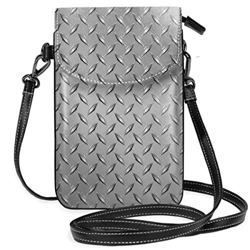 Jiger Women Small Cell Phone Purse Crossbody,Wire Fence Design On Netting Display With Diamond Plate Effects Chrome Kitsch Motif Theme Print