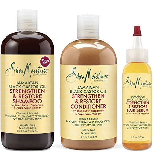 Shea Moisture Jamaican Black Castor Oil Strengthen Grow & Restore Combination Pack, Shampoo 16.3 Ounce | Conditioner 13 Ounce | Hair Serum 2 Ounce