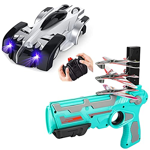 EpochAir Wall Climbing Remote Control Car + Airplane Toys Gun Dual Mode 360° Rotating RC Stunt Cars with Headlight Toys for Boys Gift for 4 5 6 7 8-12 Year Old Kids