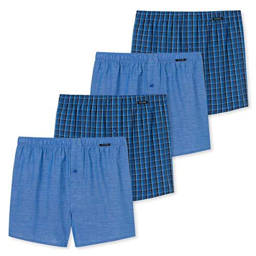 Schiesser - Boxershorts - 168445-4er Spar-Pack (7 Blau/Blau kariert)