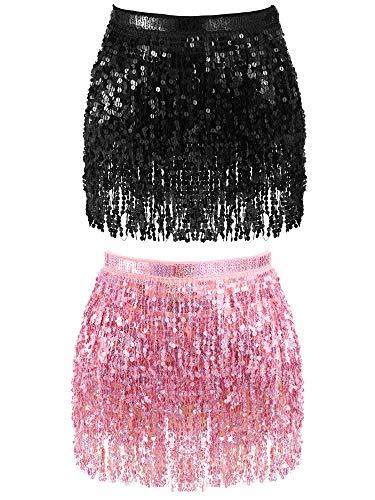 2 Pieces Sequin Tassel Skirt Belly Dance Hip Scarf Performance Outfit Sequins Skirt Belts Body Accessories for Women Girls (Black&Light Pink)