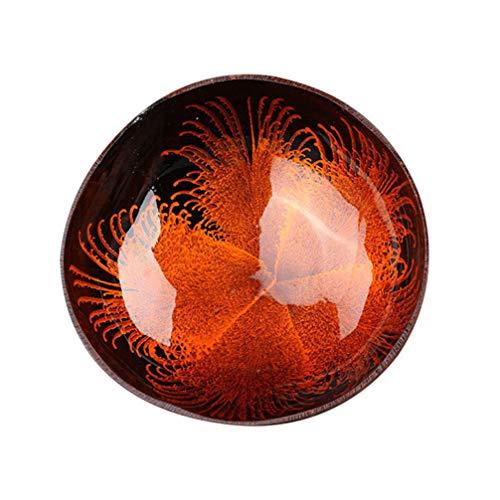 Hemoton Cuencos de Coco Cuenco Natural de Cáscara de Coco Cuenco Decorativo de Almacenamiento de Claves Contenedor de Dulces Titular de Nueces (Rojo)