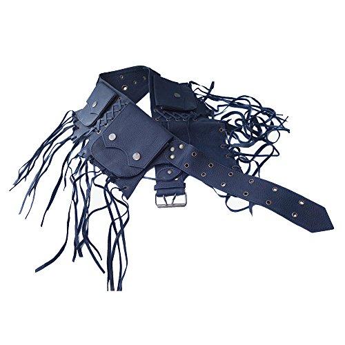 Leather Utility Belt   Tassels, 5 Pocket   Saddle   travel, festival, hip bag, fanny pack, cosplay (black)