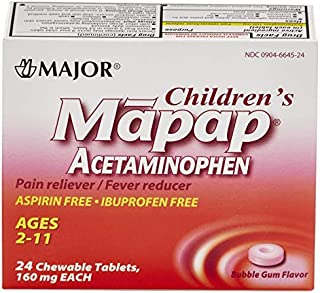 Major Mapap Jr 160 Mg Ages 2-11 Chew Tabs 24 count Bubble Gum Flavor - Pack of 6  - Packaging May Vary