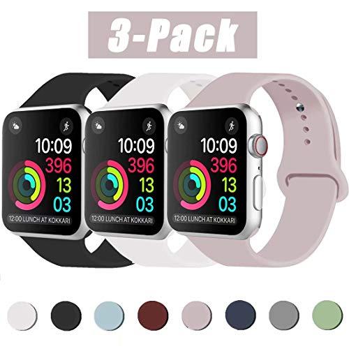 INZAKI Kompatibel mit Apple Watch Armband 42mm 44mm, Classic Sport Ersatzband aus weichem Silikon für Armband für iWatch Serie 5/4/3/2/1, Nike +, Sport, Edition, S/M, Schwarz/Weiß/Sandrosa