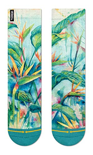 MERGE4 Maia Negre Bird of Paradise Women's Crew Socks Green Soft Colors Watercolor floral