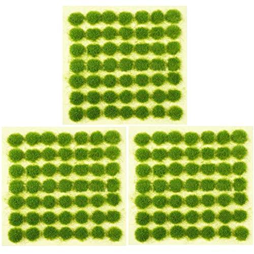 OrgMemory Statisches Grasbüschel, Kunstrasen, (147 Stück, 3 mm), Selbstklebende Waldbüschel für Modelllandschaften (Gras-Grün)