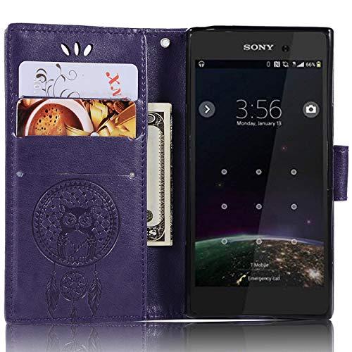 Capa compacta de couro para Sony Xperia XZ1, capa carteira compacta Sony Xperia XZ1, capa flip floral em couro PU com suporte para cartão de crédito para Sony Xperia XZ1 compacto de 4,6 polegadas
