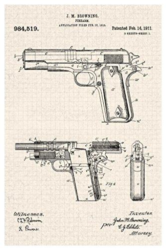 Handgun Browning Official Patent Diagram Cool Wall Decor Art Print Poster 24x36