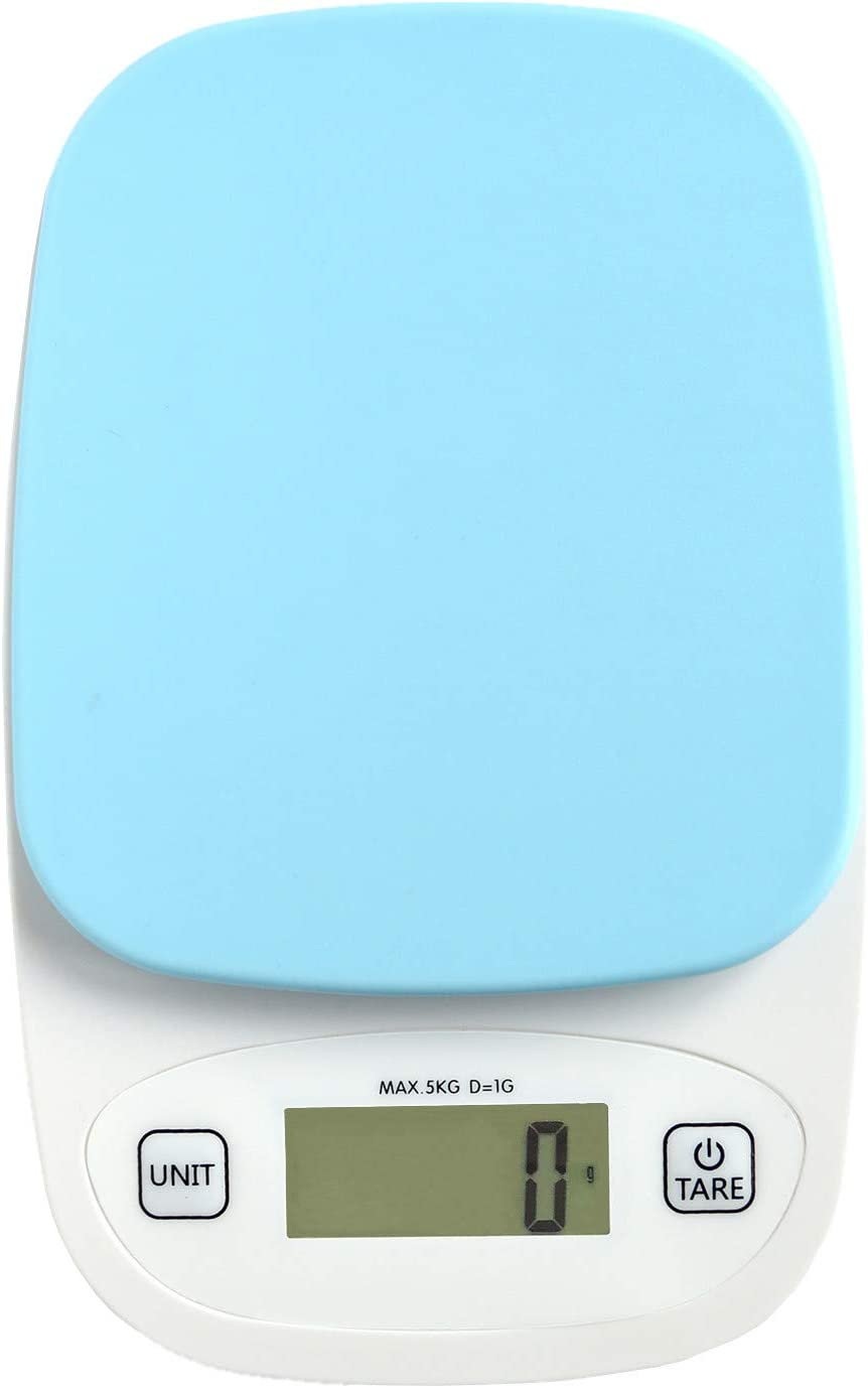 GemRed Small Mini Digital Kitchen Scale Small Food Weight for Cooking Baking kg, g, oz, lb Max 11lb/5kg (Blue)